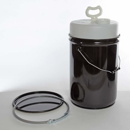 Picture of 6 Gallon Steel Black Delpak w/ Rust Inhibitor Lining, Lever Lock Ring, and 5 Gallon HD Liner