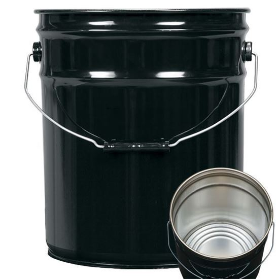 Picture of 5 Gallon Steel Black Open Head Nestable Pail w/ Rust Inhibitor Lining and Child Warning Label