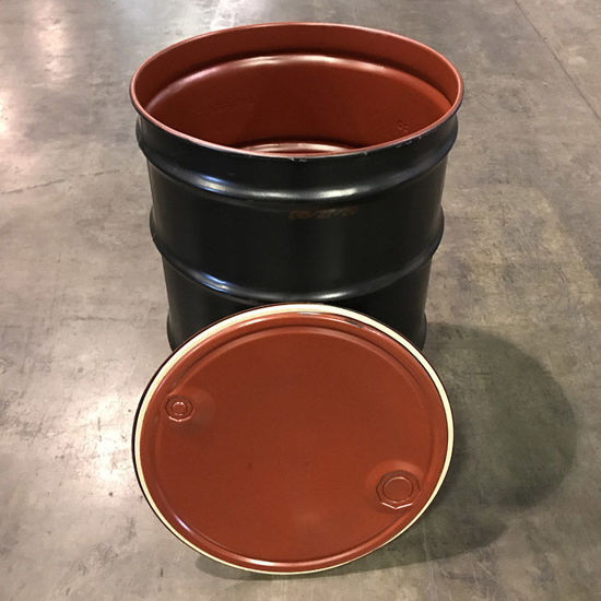 """Picture of 55 Gallon Open Head Black Epoxy Phenolic Lined Steel Reconditioned Drum with 2"""" and 3/4"""" Fittings"""