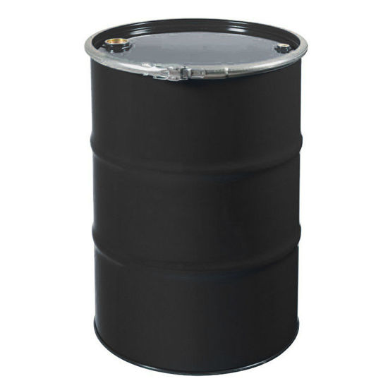 """Picture of 55 Gallon Open Head Black Unlined Steel Drum with 2"""" and 3/4"""" Fittings"""