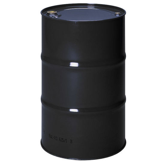 """Picture of 55 Gallon Tight Head Black Unlined Steel Drum with 2"""" and 3/4"""" Fittings"""
