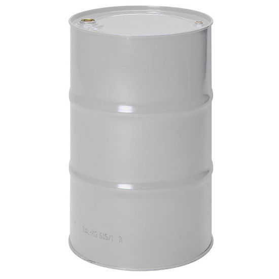 """Picture of 55 Gallon Tight Head White Unlined Steel Drum with 2"""" and 3/4"""" Fittings and Hand Tighten Bungs"""