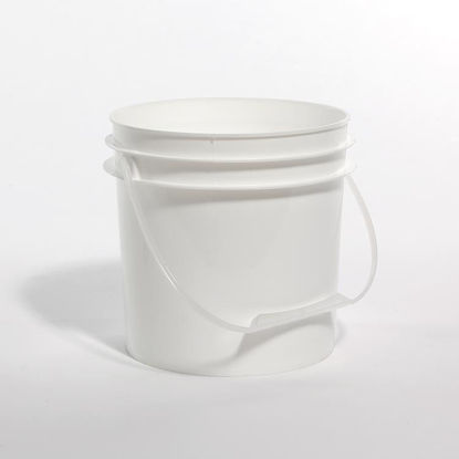 Picture of 1 Gallon White HDPE Open Head Pail with Plastic Handle