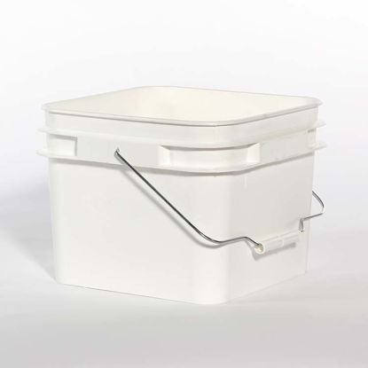 Picture of 2 Gallon White HDPE Open Head Pail with Metal Handle
