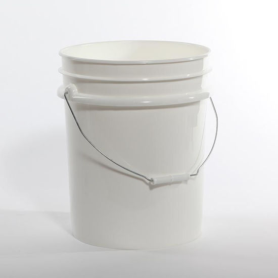 Picture of 5 Gallon White HDPE Open Head Pail w/ Metal Handle, 1H2/Y1.5/30 & 1H2/Y27/S