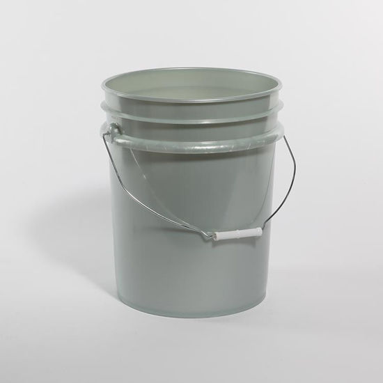 Picture of 5 Gallon Silver HDPE Open Head Pail with Wire Bail
