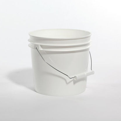 Picture of 1 Gallon White HDPE Open Head Pail with Metal Handle