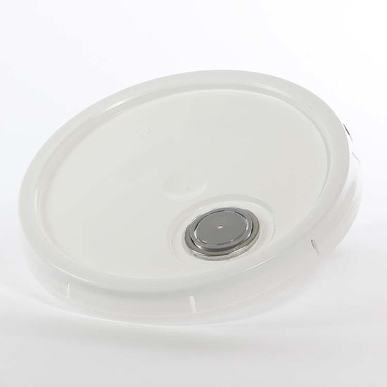 Picture of 3.5-6 Gallon White HDPE Tear Tab Cover w/ Rieke (Micro-porous)