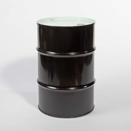 "Picture of 16 Gallon Black Steel Tight Head Drum, Unlined with 2"" and 3/4"" Fittings, 1A1/Y1.5/280"