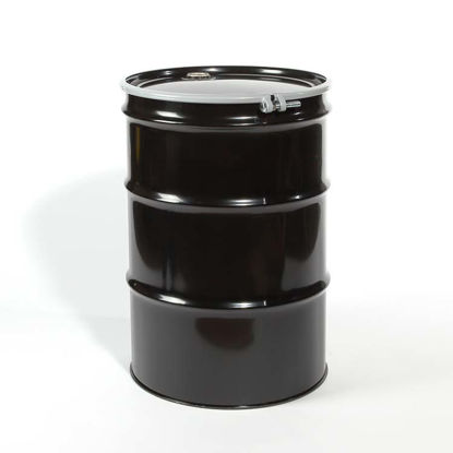 "Picture of 55 Gallon Black Steel Open Head Drum, Buff Epoxy Phenolic Lined w/ 2"" and 3/4"" Fittings, 1A2/Y1.5/130"