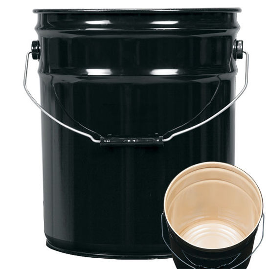Picture of 5 Gallon Black Open Head Pail, Buff Epoxy Phenolic Lined, 1A2/Y1.8/100
