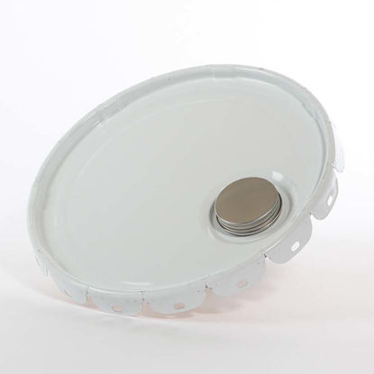 Picture of 2.5-7 gallon White Lug Cover, Buff Epoxy Phenolic Lined w/ Seal & Spout (26 Gauge)