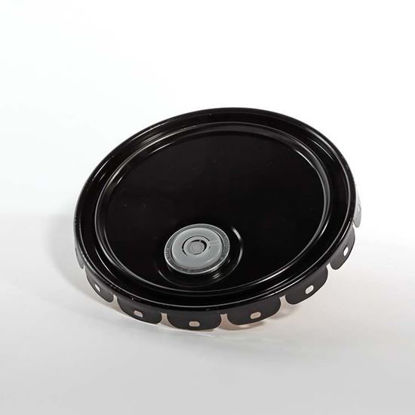 "Picture of 2.5 - 7 Gallon Black Ring Seal Cover, Buff Epoxy Phenolic Lined w/ 2"" Plug (24 Gauge)"