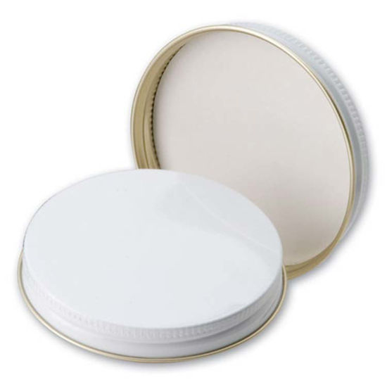 Picture of 70 mm White Metal Screw Cap w/ Poly Liner