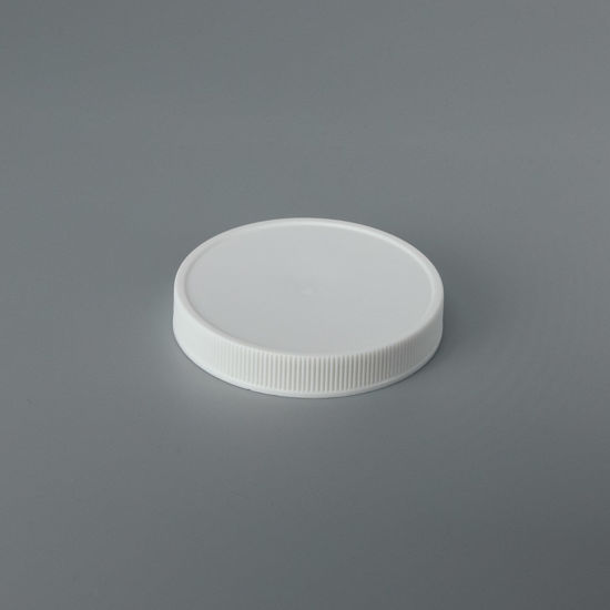 Picture of 70-400 White PP Matte Top, Ribbed Sides Cap with SG75 Plain Liner (Heat Seal For PE)