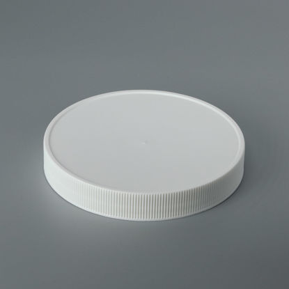 Picture of 110-400 White PP Matte Top, Ribbed Sides Cap with PS Liner, Printed for HDPE