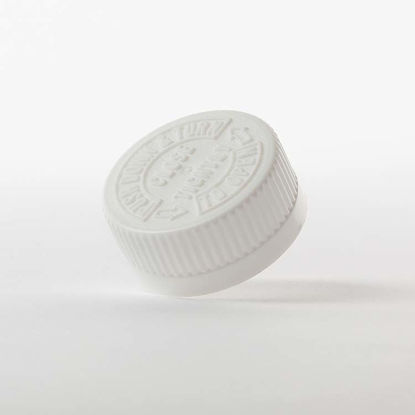 Picture of 33-400 White PP Child Resistant Cap w/ ISPE U10 & F217 Heat Seal for PE Liner