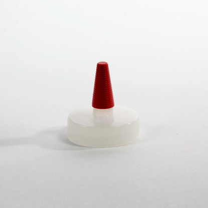Picture of 38-400 Natural LDPE Spout Cap with Regular Red Tip (No Hole)