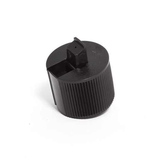 Picture of 28-410 Black PE Turret Spout Cap w/ ISPVC U10 Heat Seal Liner (3mm Orifice)