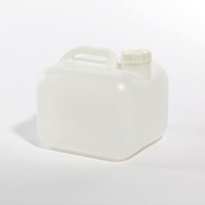 Picture of 2.5 Gallon Natural HDPE Square Jerry Jug, 63 mm, No Vent, 400 Gram