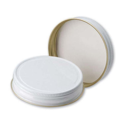 Picture of 70G-450 White Metal Screw Cap w/ Pulp & Poly Liner