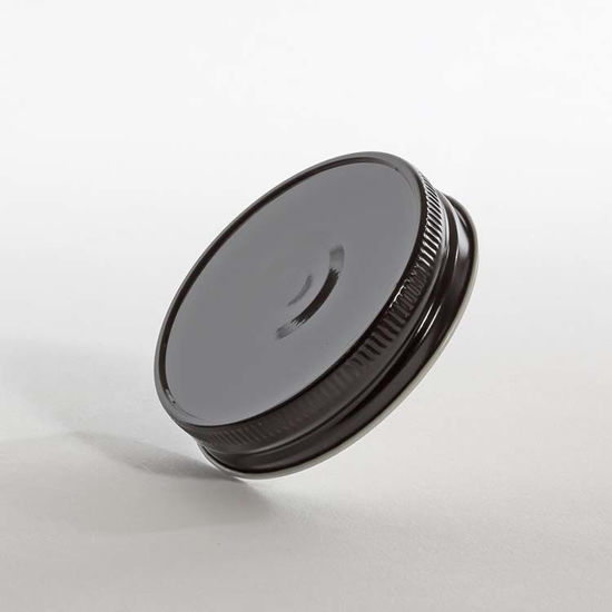 Picture of 70G-450 Black/White Metal Deep Skirt Button Cap w/ Plastisol Liner