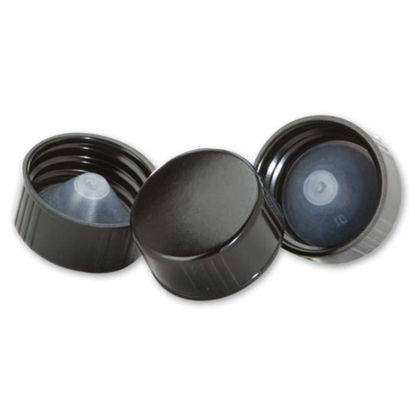 Picture of 22-400 Black PP Phenolic Ribbed Cap with Poly Seal Liner