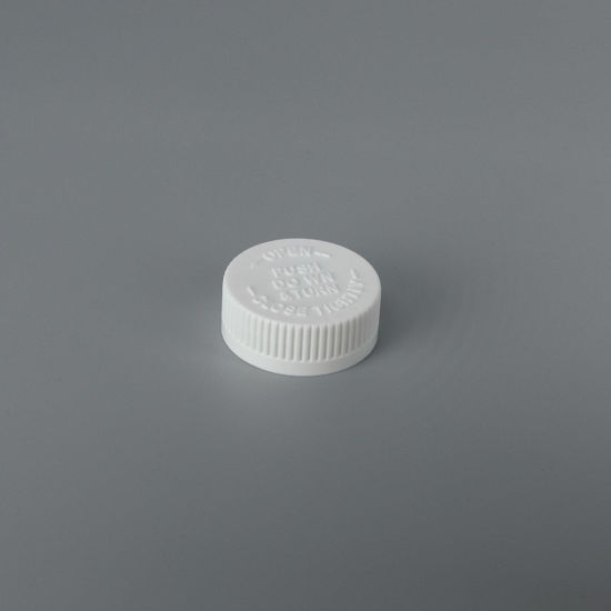 Picture of 38-400 White PP Child Resistant Cap with FS1-15/C1S.008 Printed (For PE/PP)