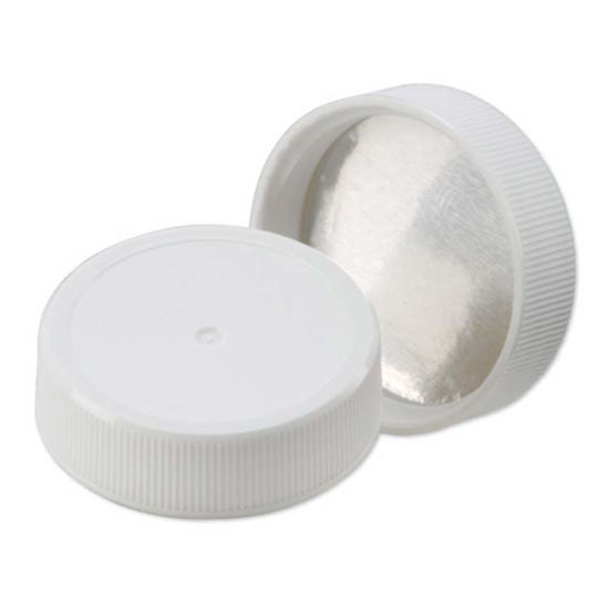 Picture of 38-400S White PP Screw Cap w/ Heat Seal for PE Liner