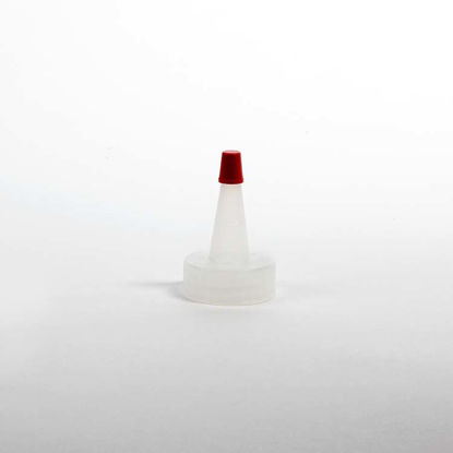 Picture of 28-400 Natural LDPE Spout Cap with Regular Red Tip (With Hole)