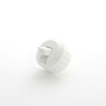 Picture of 28-400 White PP Turret Spout Cap w/ PS 54 Heat Seal for HDPE Liner (3mm Orifice)
