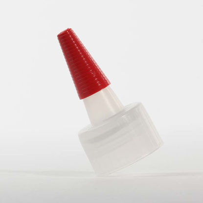 Picture of 24-410 Natural LDPE Spout Cap with Regular Red Tip, Easy Peel Heat Seal Liner
