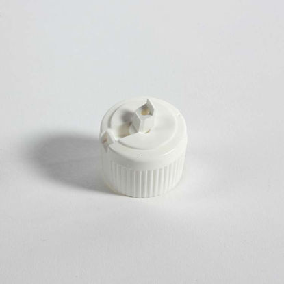 Picture of 28-410 White PE Turret Spout Cap w/ PS218 Liner (3mm Orifice)