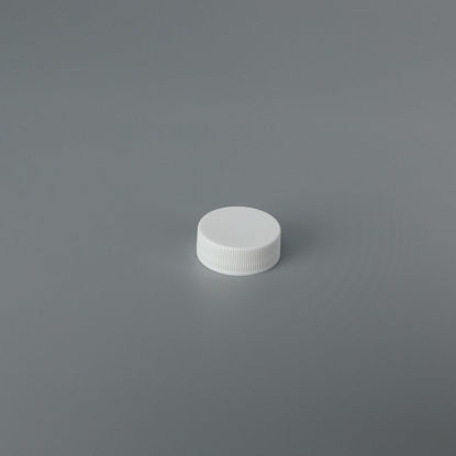 Picture of 28-400 White PP Smooth Top, Ribbed Sides Cap with ISPE/PP U5 Printed Heat Seal For HDPE