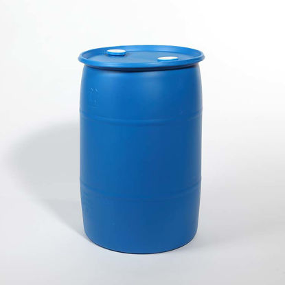 "Picture of 30 Gallon Blue Plastic Tight Head Drum w/ 2"" and 2"" Fittings, 1H1/Y1.9/150"