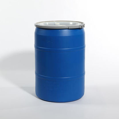 "Picture of 30 Gallon Blue Plastic Open Head Drum w/  2"" and 2"" Fittings, 1H2/Y180/S"