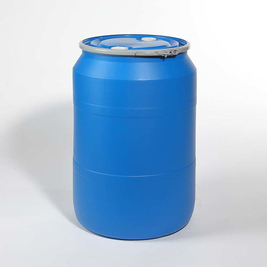 "Picture of 55 Gallon Blue Plastic Open Head Drum with  2"" and 2"" Fittings, 1H2/150/S"