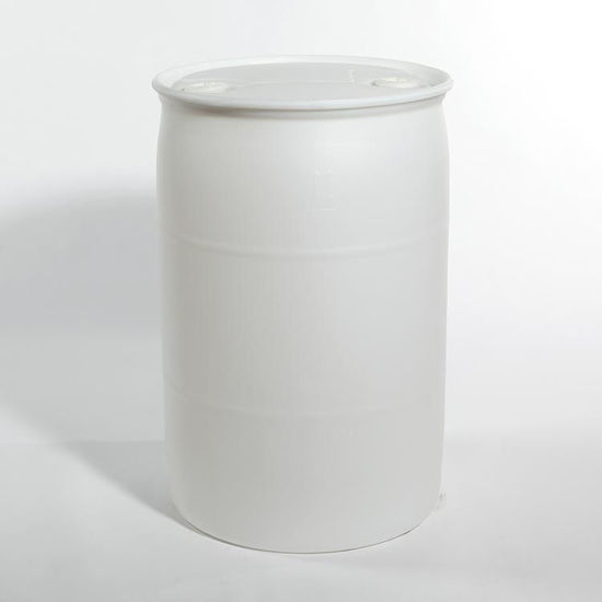 "Picture of 55 Gallon White Plastic Tight Head Drum w/ 2"" and 2"" Fittings, 1H1/Y1.9/150"