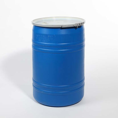 "Picture of 30 Gallon Blue Plastic Open Head Drum w/ 3/4"" Fittings"