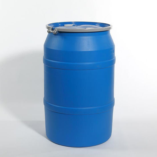 "Picture of 55 Gallon Blue Plastic Open Head Drum with 2"" and 2"" Fittings, 1H2/X300/S"