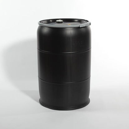 "Picture of 55 Gallon Black Plastic Open Head Drum w/ 2"" and 3/4"" Fittings, 1H2/Y200/S"