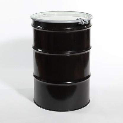 "Picture of 55 Gallon Black Steel Open Head Drum, Buff Epoxy Phenolic Lined w/ 2"" and 3/4"" Fittings, 1A2/Y1.2/100"