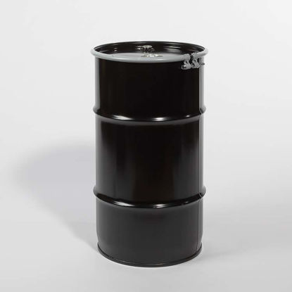 "Picture of 16 Gallon Black Steel Open Head Drum, Olive Drab Lined with 2"" and 3/4"" Fittings, 1A2/Y1.2/100"