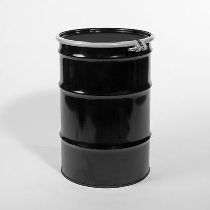 "Picture of 30 Gallon Black Steel Open Head Drum, Buff Epoxy Phenolic Lined w/ 2"" and 3/4"" Fittings, 1A2/Y1.8/100"