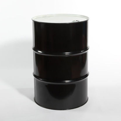 "Picture of 55 Gallon Black Steel Tight Head Drum, Unlined with 2"" and 3/4"" Fittings, 1A1/X1.8/300 (Buna Gaskets)"