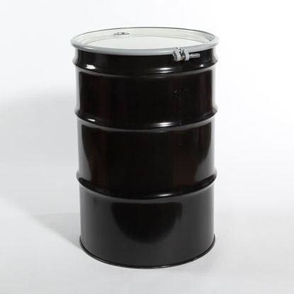 "Picture of 55 Gallon Black Steel Open Head Drum, Unlined w/ 2"" and 3/4"" Fittings, 1A2/Y1.8/150"