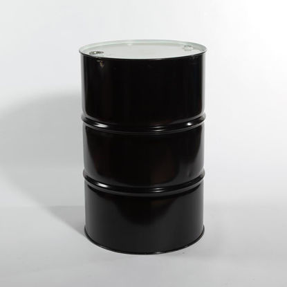 "Picture of 55 Gallon Black Steel Tight Head Drum, Buff Epoxy Phenolic Lined w/ 2"" and 3/4"" Fittings, 1A1/Y1.8/300 (Poly Irradiated Gaskets)"
