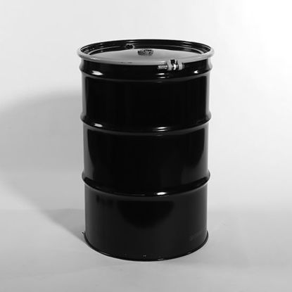 "Picture of 55 Gallon Black Steel Open Head Drum, Red Phenolic Lined w/ 2"" and 3/4"" Fittings"