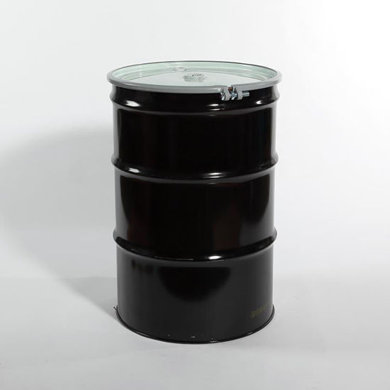 "Picture of 55 Gallon Black Steel Open Head Drum, Red Phenolic Lined w/ 2"" and 3/4"" Fittings, 1A2/Y1.4/100"