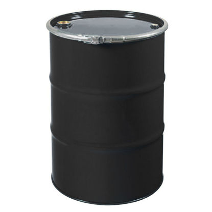 "Picture of 55 Gallon Black Open Head Drum, Epoxy Phenolic Lined w/ 2"" & 3/4"" Fittings, 1A2/Y1.2/100"